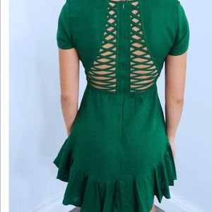 Green a line dress with cut out back